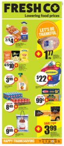 FreshCo Flyer October 7 to October 13, 2021 - Page 1 of 14 - Lowering Food Prices - Let's Be Thankful, Happy Thanksgiving