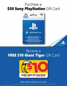 Giant Tiger Flyer October 6 to October 12, 2021 - Page 20 of 22 - Sony Playstation Gift Card