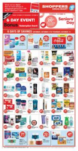 Shoppers Drug Mart Flyer October 9 to October 14, 2021 - Page 4 of 22 - Seniors' Day